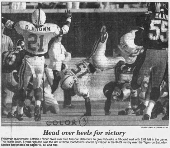1992 Nebraska-Missouri football Tommie Frazier TD photo -