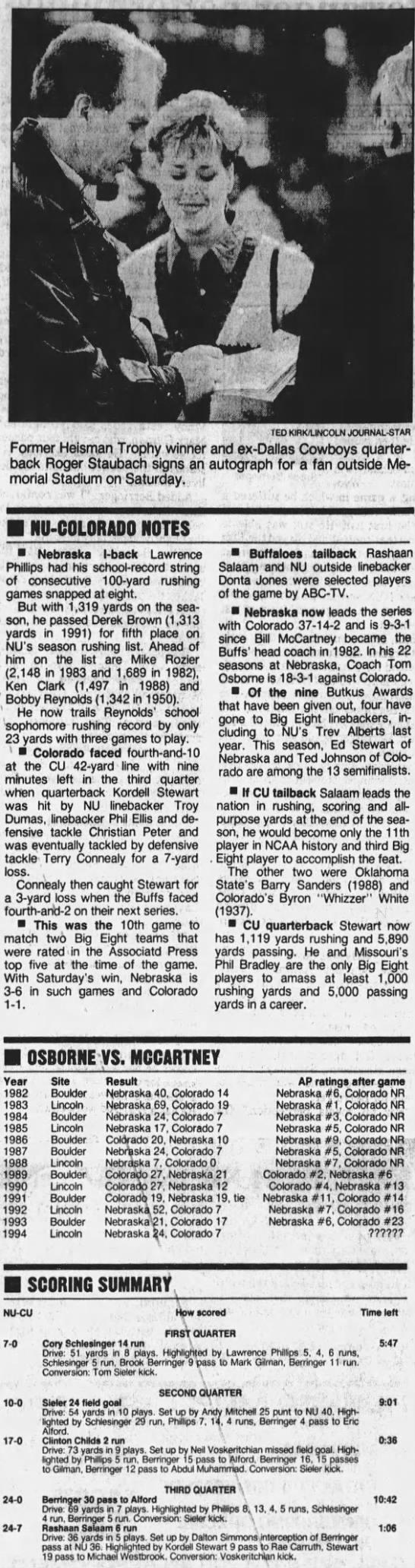 1994 Nebraska-Colorado, LJS notes & summary -