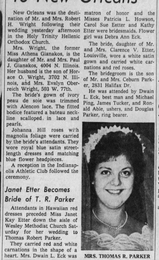 Marriage of Thomas Parker and Janet Etter -