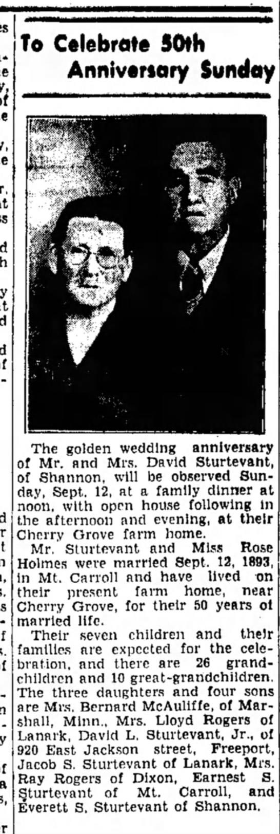 David and Rose Sturtevant 50th anniversary -
