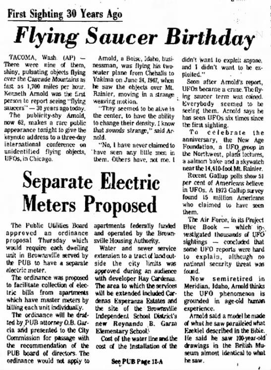 Arnold UFO Sighting - Br Hr Jun 24 1977 -