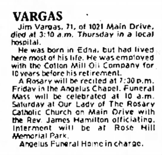 Jim Vargas - obit - s . Hilda , and 11 VARGAS Jim Vargas, 71, of...