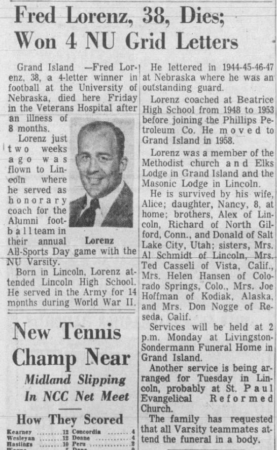 1959 Fred Lorenz obituary -