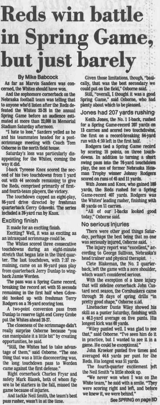 1987 Nebraska spring game LJS1 -