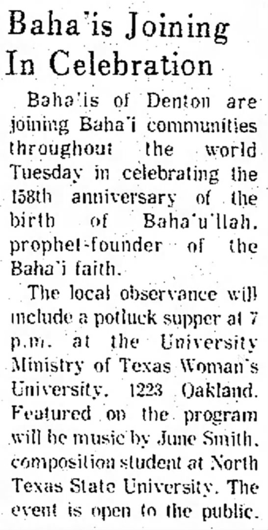 Baha'i meeting with talk by June Smith -