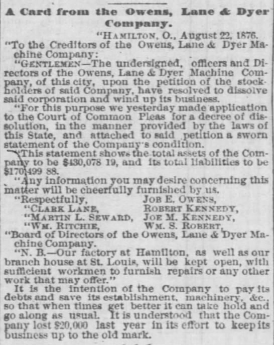 A Card from the Owens Lane and Dyer Company Hamilton O August 22 1876 -