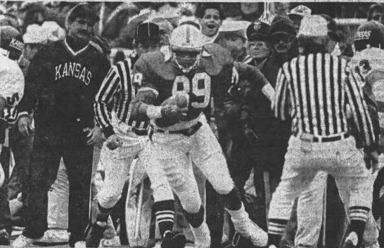 1987 Nebraska-Kansas football, Broderick Thomas interception return -
