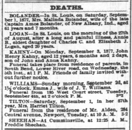 Death of Malinda Bolander, St. Louis, Missouri; wife of Amos Bolander of New Albany, IN - DEATHS. BO LANDER In St Louis, on Saturday....