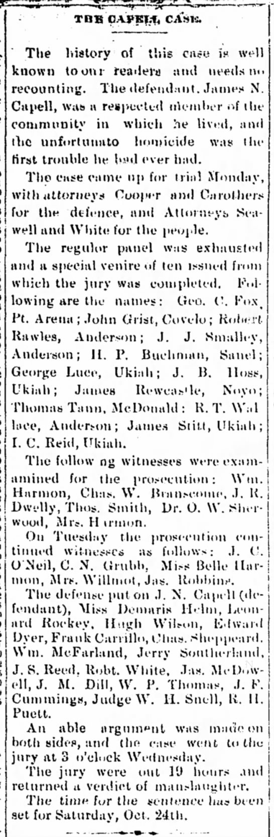 1891 - JR Dwelly witness for prosecution in Capell murder case -