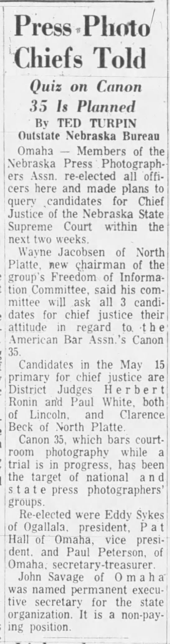 Turpin, Ted. Press Photo Chiefs Told, Lincoln Journal Star (Lincoln, Nebraska) 30 Apr 1961, page 22 -