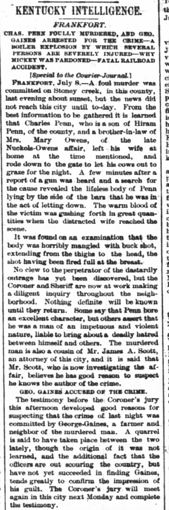 Gaines accused of murdering Penn Courier-Journal 9 July 1882 -
