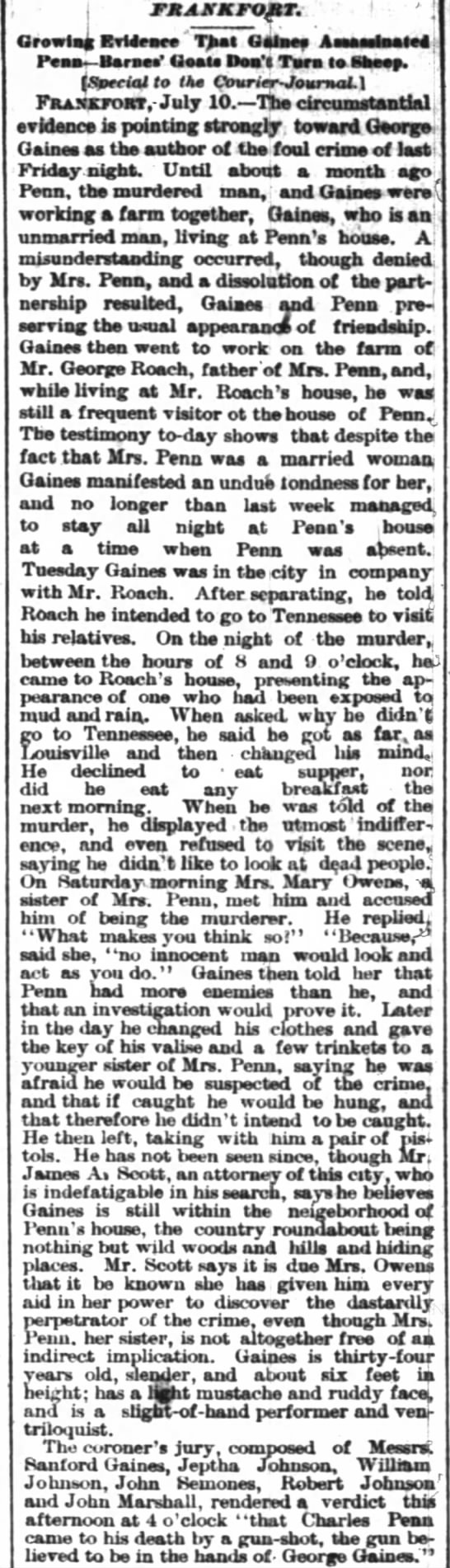 More trial info re murder of Chas R Penn Courier-Journal Louisville, KY 11 July 1882 -