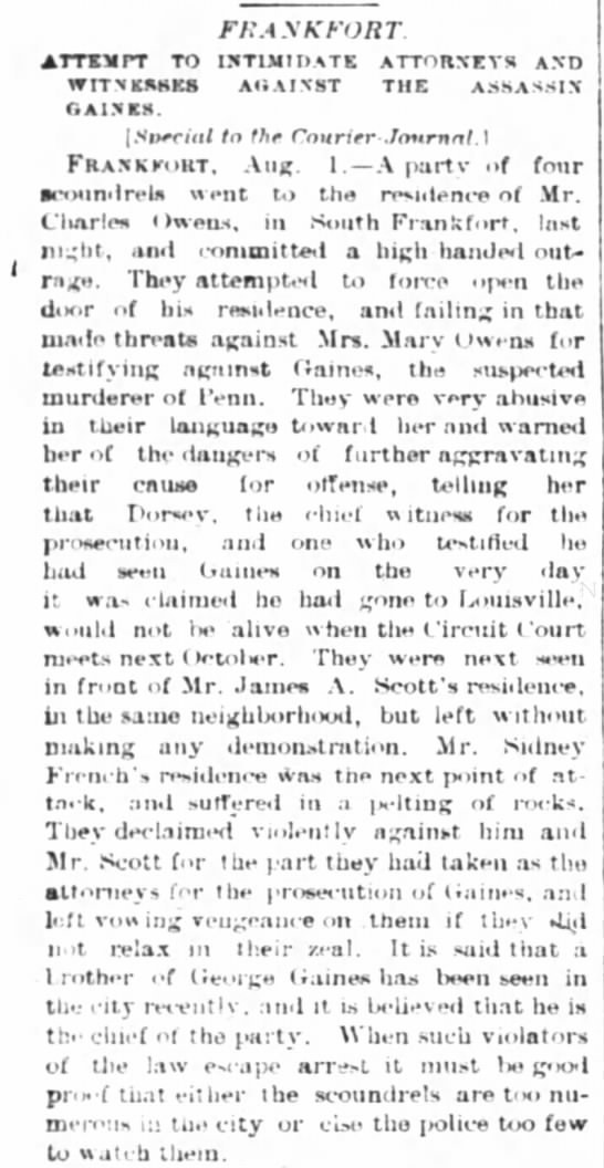 Rowdy activity at homes of witnesses 2 Aug 1882 -