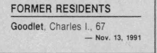 Charles Goodlet death notice -