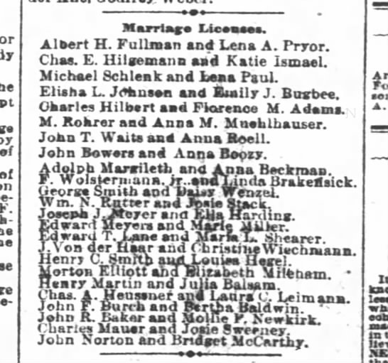Hilbert and Adams marriage license -
