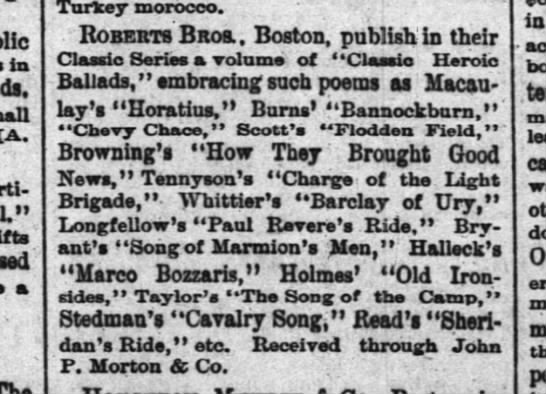 Classic Heroic Ballads - Courier-Journal, Louisville 23 Nov 1883 -