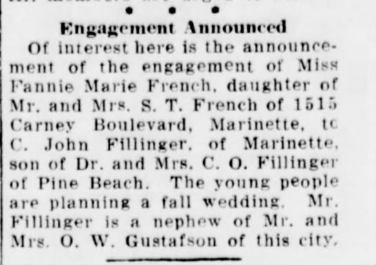 Fillinger, Fannie engagement Escanaba Daily Press Jun 1941 -