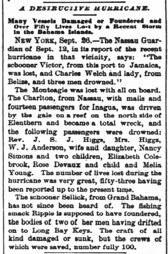 1883-09-27 HIGGS REV J S J, AND WIFE DROWN ON THE CHARLETON. -