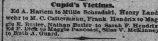 Ed A. Harlem to Millie Schradski