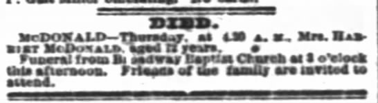 Mrs Harriet McDonald, 72, Funeral Notice