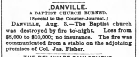 Baptist church burned 1881 -
