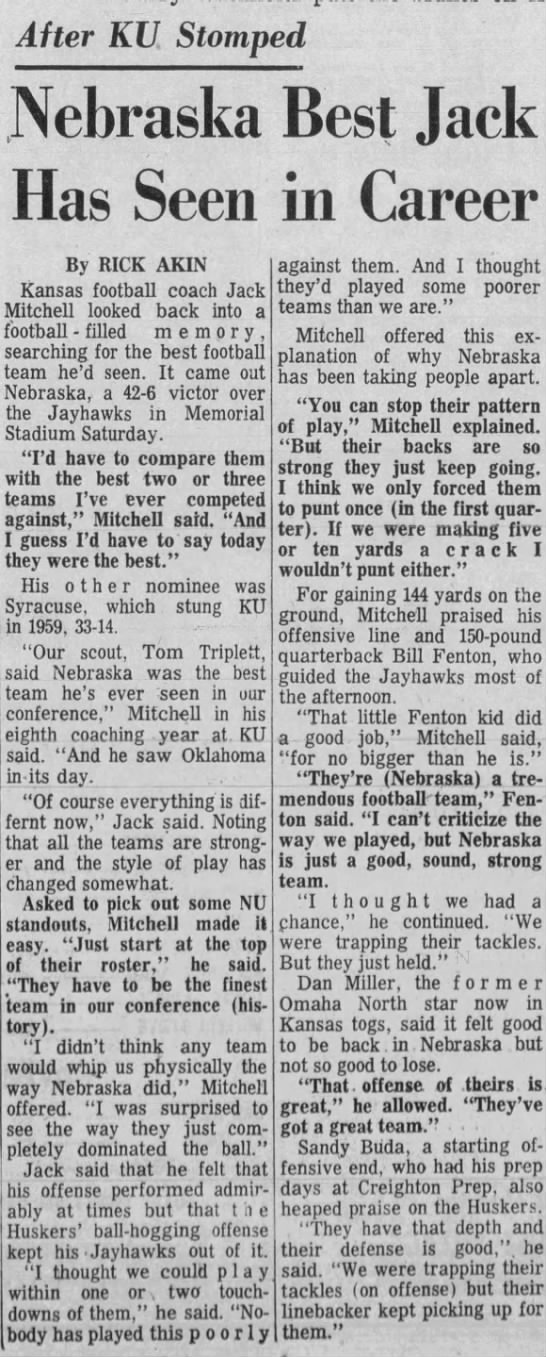 1965 Nebraska-Kansas, LJS Mitchell -