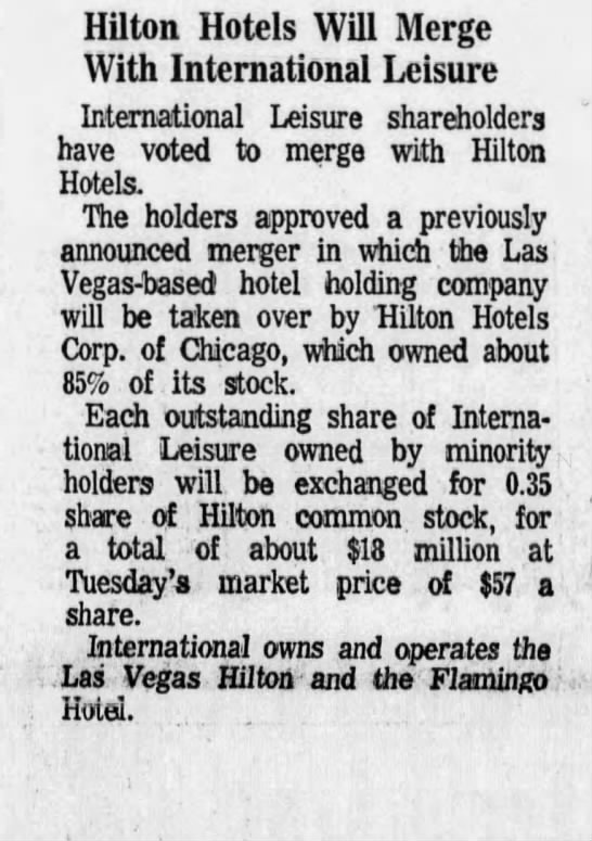 Hilton Hotels Will Merge With International Leisure -