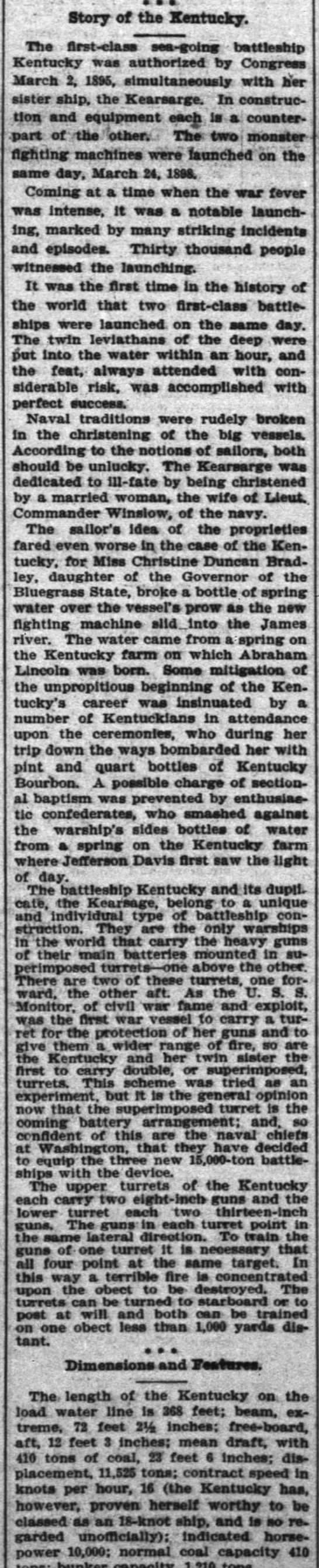 Launching the Kentucky and Kearsarge, reported on in Kentucky -