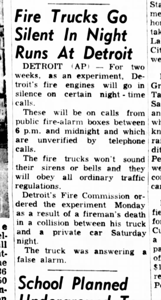 1963 no sirens at night after LODD -