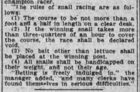 Snail racing rules, 1912 -