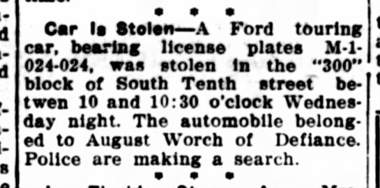 august worch has car stolen escanaba daily press 10 august 1928 page 5 -