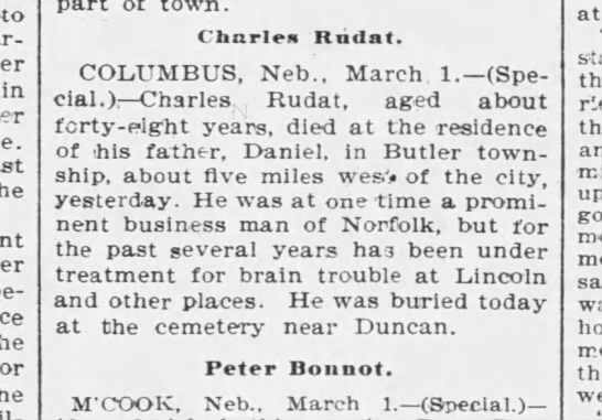 Charles Rudat buried at Duncan -
