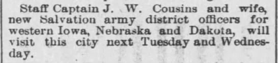 SA - Lincoln - The Nebraska State Journal, 10 Feb 1895, Page 2 - Staff Captain J. 1 W. Cousins and wife. new...