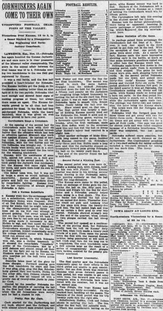 1917 Nebraska-Kansas football Journal -