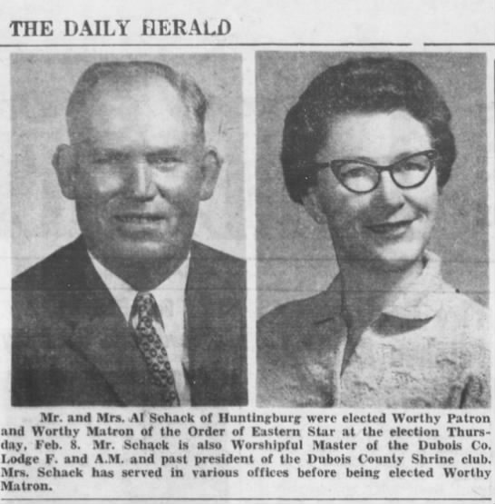 Schack - Al and Kathryn - Order of the Eastern Star - Feb 1962 -