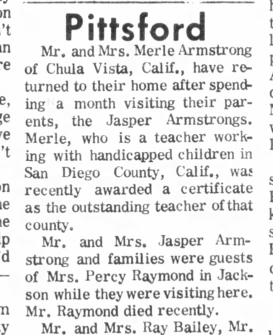 Armstrong, Merle-Jasper Hillsdale Daily News 26 Aug 1970 pg 4 -