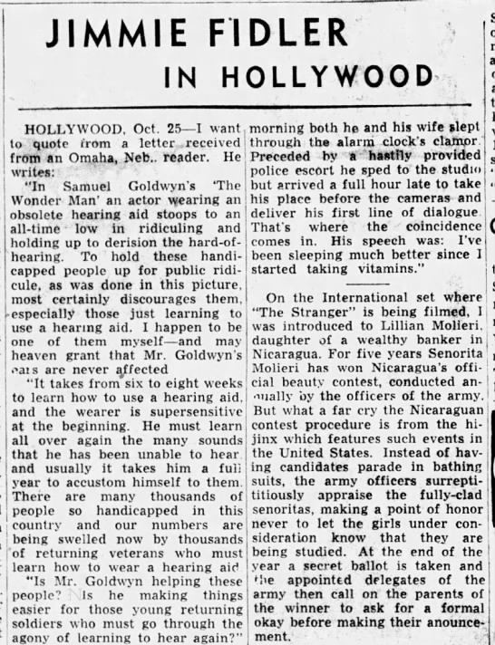 Jimmie Fidler in Hollywood. The Indianapolis News (Indianapolis, Indiana, 25 October 1945, p 41 -