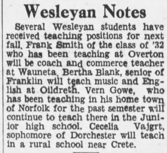 Cecelia Vajgrt-Sophomore of Dorchester will teach in rural school near Crete-Apr 2nd 1933 -