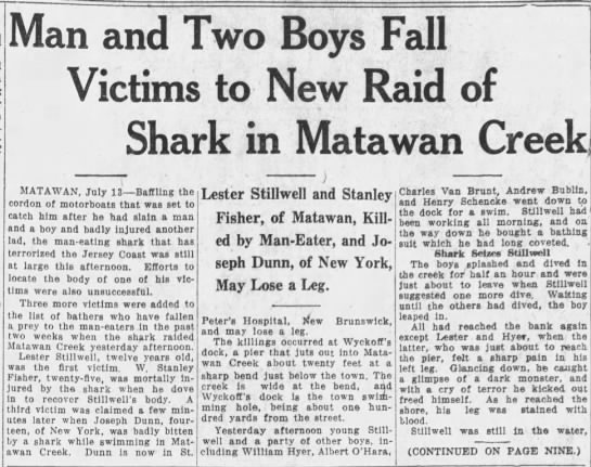 Jaws - 3rd and final Matawan shark attack -