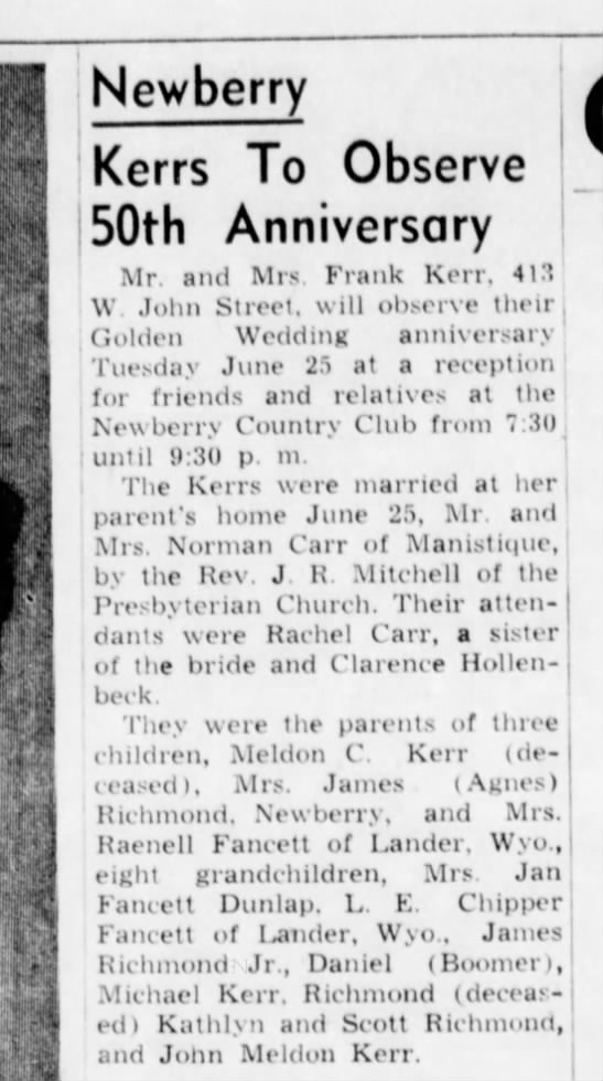 Maternal grandmother's info. Kerr Family - 50th Anniversary -