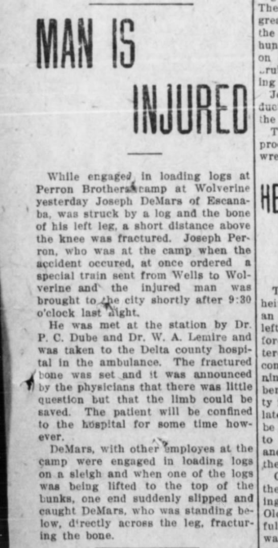 1/24/1912 - INJURED The great the on stopping he While...