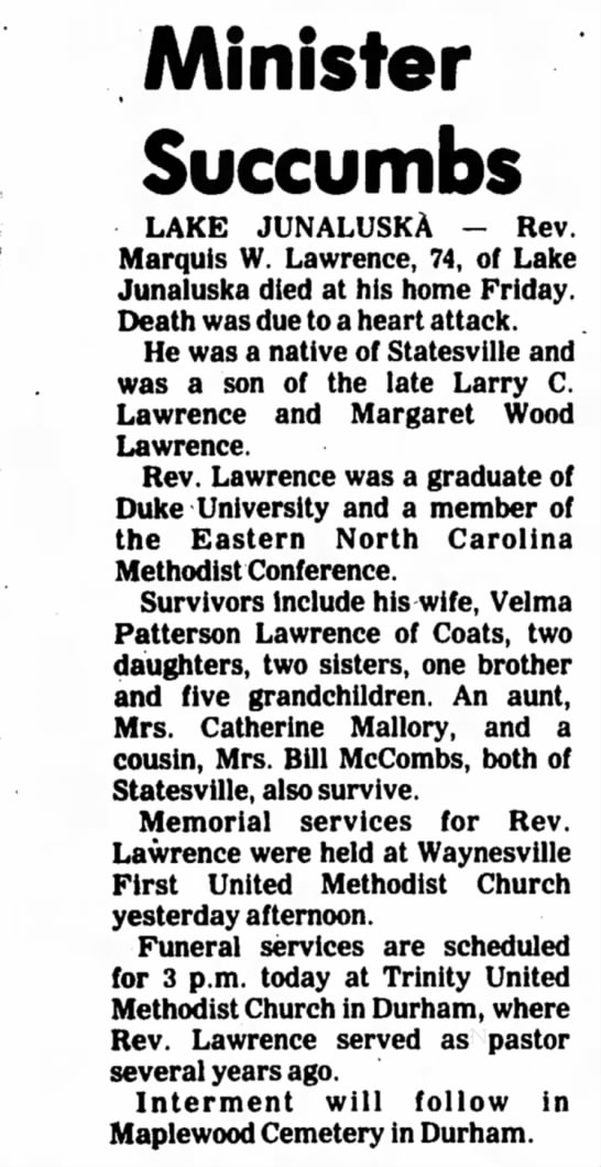 Death of Rev. Lawrence -