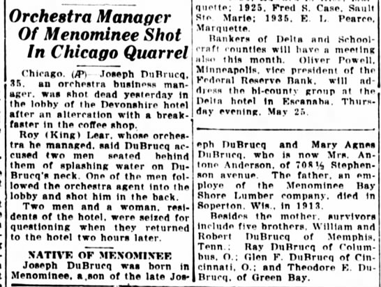 DuBrucq, Joseph Chicago incident, Escanaba Daily Press May 1939 -
