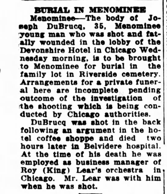 DuBrucq, Joseph funeral Escanaba Daily Press May 1939 -