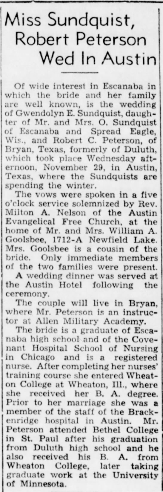 Wedding at home of William A Goolsbee in Austin; The Escanaba Daily Press