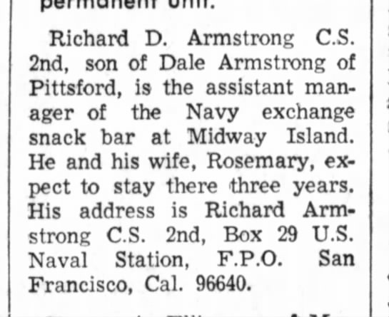 Armstrong, Richar and Rosemary at Midway Island Hillsdale Daily News 13 Jul 1966 pg 5 -
