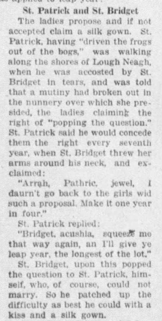 One version of the St. Patrick and St. Bridget origin of Leap Year proposals -