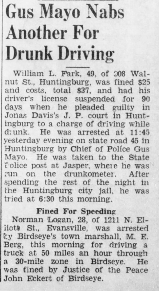 Eckert_John_9apr1949 - Gus Mayo Nabs Another For Drunk Driving William...