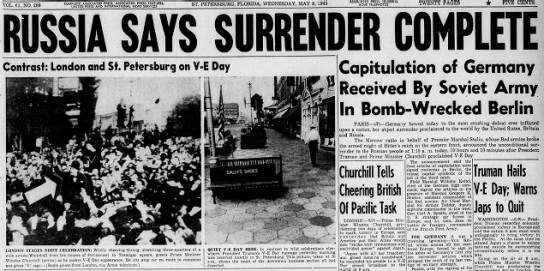 Russia says surrender complete, May 9 1945 -