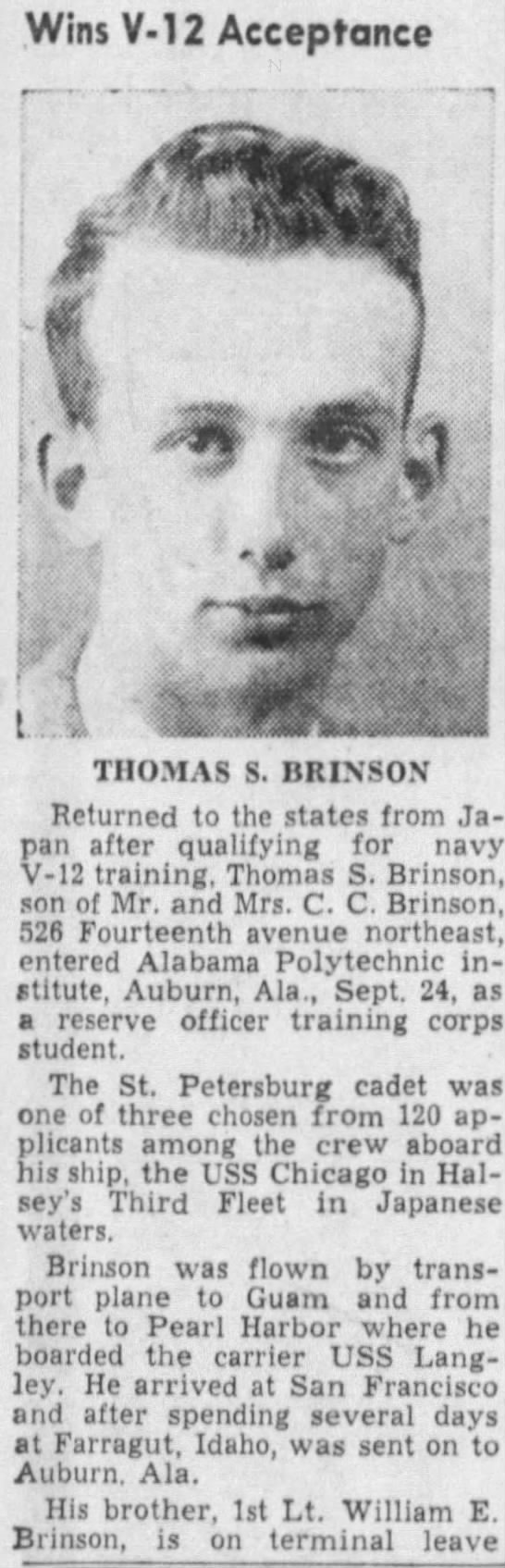WW II article about resident Thomas S Brinson in 1945. -
